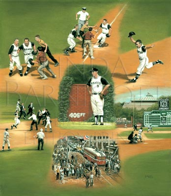 Mazeroski's Magical Moment, painted by Linda Barnicott, features Bill Mazeroski during the 1960 World Series won by the Pittsburgh Pirates.