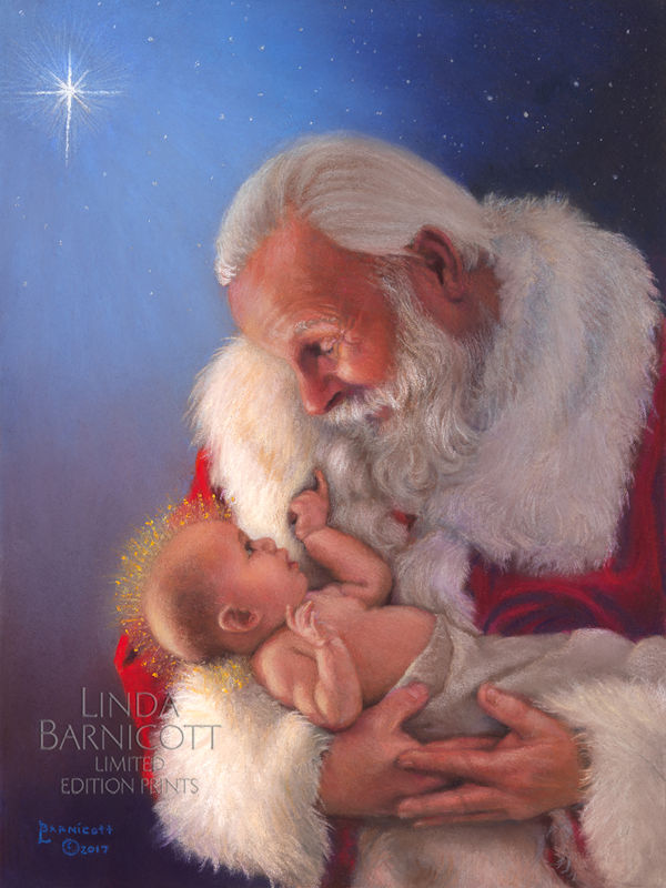 it looks like santa and the greatest gift will be my best selling print of the year its now up on my website and available to order online - Santa Claus And Jesus 2