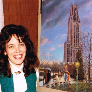 "Linda Barnicott, Pittsburgh's Painter of Memories, poses with her painting ""Walking in the Light of the Cathedral"" when it was finished in 1990."