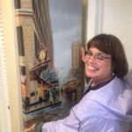"Linda Barnicott, Pittsburgh's Painter of Memories, hangs a large canvas reproduction of her painting ""Waiting for You Under Kaufmann's Clock."""
