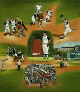The image shows Linda Barnicott's paiting of Mazeroski's Magical Moment, a painting of Bill Mazeroski during the 1960 World Series.