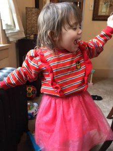Aria Stadelman, Linda Barnicott's granddaughter, expresses her excitement at Easter.