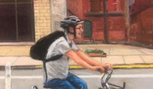 Image: An excerpt of Linda Barnicott's latest project for Forbes Hospital. Featuring an image that resembles Barnicott's husband, Tom, riding a bike.