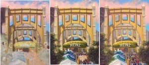 "A progression of Linda Barnicott's newest painting ""Pittsburgh Parties at Picklesburgh"""