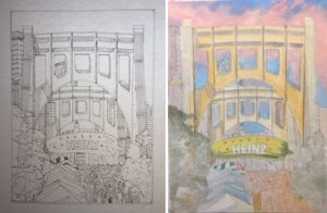 "A sketch and under-painting of Linda Barnicott's newest painting ""Pittsburgh Parties at Picklesburgh"""