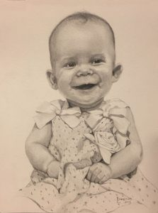 An original sketch by Linda Barnicott of her granddaughter, Autumn Stadelman.