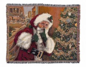 "An image of Linda Barnicott's new Christmas blanket featuring her painting ""Shhhh!"""