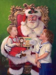 "Linda Barnicott's newest painting ""Wishes for Santa"" features Santa sitting in an ornate chair, holding a small boy while a girl stares up at him."