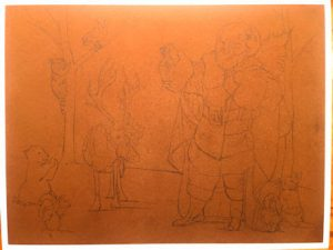 This image features a sketch of Linda Barnicott's new, and final, Santa painting.