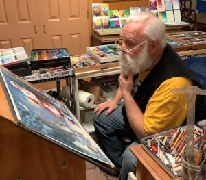 This image is of Santa Claus getting a first look at Linda Barnicott's newest painting featuring Woodland Santa.