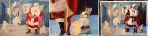 This image shows some of the progression of Linda Barnicott's newest painting, Santa and His Woodland Friends