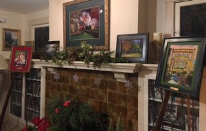An image of Linda Barnicott's living room set up for her Second Annual Studio Open House and Trunk Show.