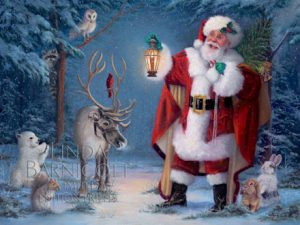 "This image features Linda Barnicott's new painting ""Santa's Woodland Christmas"""