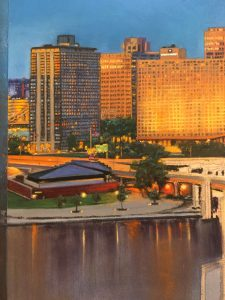 This image is an in progress image of Linda Barnicott's newest painting. It shows a number of downtown Pittsburgh buildings and the river.