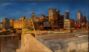 This image is an in progress image of Linda Barnicott's newest painting. It shows a number of downtown Pittsburgh buildings, a barge, the Fort Pitt bridge, and the river.