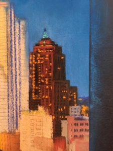 This image features a close up of one of the downtown Pittsburgh building's in Linda Barnicott's newest painting.