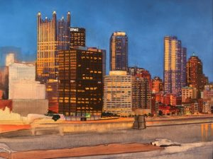 This image is an in progress image of Linda Barnicott's newest painting. It shows a number of downtown Pittsburgh buildings, a barge, and the river.