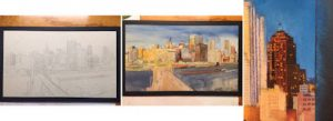 This image shows three separate photos of Linda Barnicott's new painting of Pittsburgh: a sketch, the underpainting, and a close of up of one of the buildings