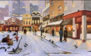 "Linda Barnicott's painting ""Sharing the Season at Market Square."""