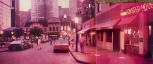 This image shows a photo of Market Square in Pittsburgh in the early 1990s.