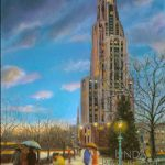 "This image features Linda Barnicott's painting ""Walking in the Light of the Cathedral,"" a painting of the Cathedral of Learning on the University of Pittsburgh's Oakland campus."