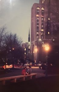 "This image is one of Linda Barnicott's photographs of the Cathedral of Learning that she used to create her painting ""Walking In The Light of the Cathedral."""